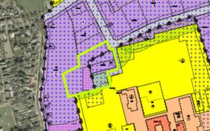verbeelding bestemmingsplan 'KVL-terrein' met ligging plangebied (groene lijn)