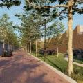 Impressie nieuwbouw, met groenstrook, op de plek van de kartonnagefabriek (rechts) aan de Baerdijk © Kempenadvies